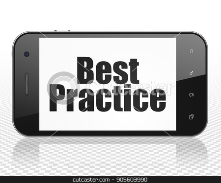 Education concept: Smartphone with Best Practice on display stock photo, Education concept: Smartphone with black text Best Practice on display, 3D rendering by mkabakov