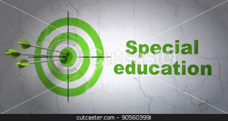 Learning concept: target and Special Education on wall background stock photo, Success Learning concept: arrows hitting the center of target, Green Special Education on wall background, 3D rendering by mkabakov