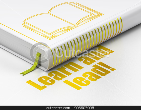 Studying concept: book Book, Learn and Lead! on white background stock photo, Studying concept: closed book with Gold Book icon and text Learn and Lead! on floor, white background, 3D rendering by mkabakov