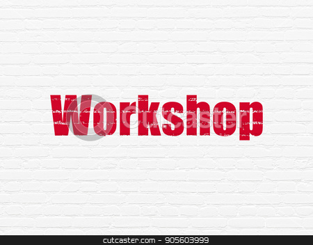 Education concept: Workshop on wall background stock photo, Education concept: Painted red text Workshop on White Brick wall background by mkabakov