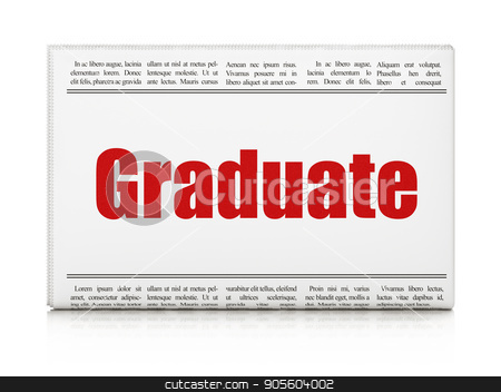 Education concept: newspaper headline Graduate stock photo, Education concept: newspaper headline Graduate on White background, 3D rendering by mkabakov