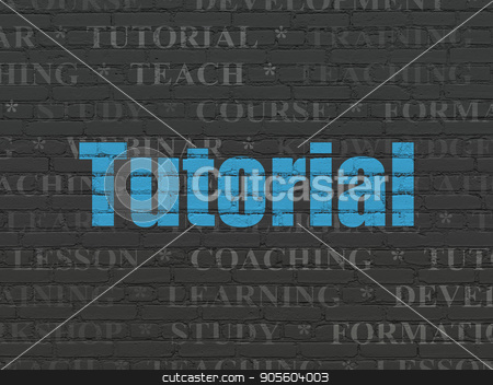 Education concept: Tutorial on wall background stock photo, Education concept: Painted blue text Tutorial on Black Brick wall background with  Tag Cloud by mkabakov