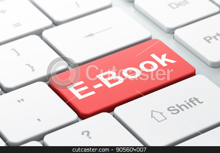 Studying concept: E-Book on computer keyboard background stock photo, Studying concept: computer keyboard with word E-Book, selected focus on enter button background, 3D rendering by mkabakov