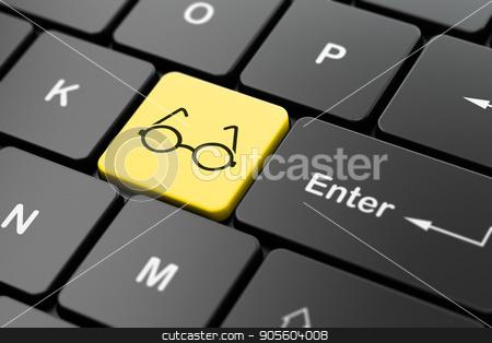 Education concept: Glasses on computer keyboard background stock photo, Education concept: computer keyboard with Glasses icon on enter button background, 3D rendering by mkabakov