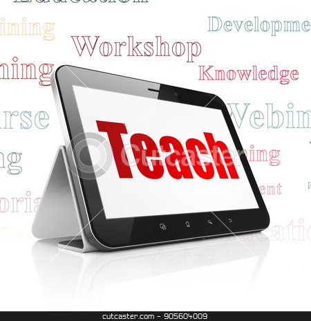 Studying concept: Tablet Computer with Teach on display stock photo, Studying concept: Tablet Computer with  red text Teach on display,  Tag Cloud background, 3D rendering by mkabakov