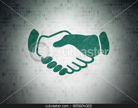 Political concept: Handshake on Digital Data Paper background stock photo, Political concept: Painted green Handshake icon on Digital Data Paper background by mkabakov