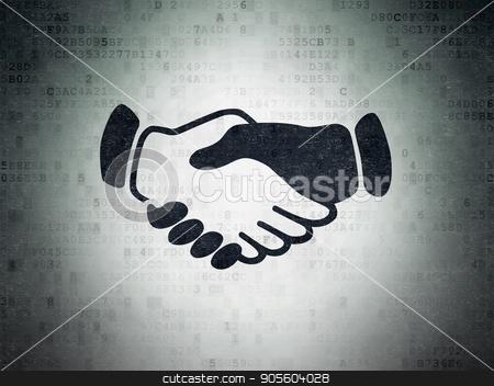 Politics concept: Handshake on Digital Data Paper background stock photo, Politics concept: Painted black Handshake icon on Digital Data Paper background by mkabakov