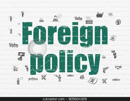 Political concept: Foreign Policy on wall background stock photo, Political concept: Painted green text Foreign Policy on White Brick wall background with  Hand Drawn Politics Icons by mkabakov
