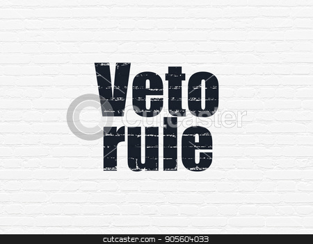 Political concept: Veto Rule on wall background stock photo, Political concept: Painted black text Veto Rule on White Brick wall background by mkabakov
