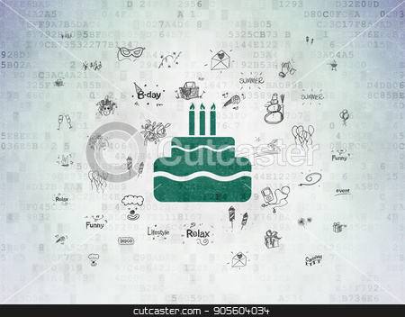 Holiday concept: Cake on Digital Data Paper background stock photo, Holiday concept: Painted green Cake icon on Digital Data Paper background with  Hand Drawn Holiday Icons by mkabakov