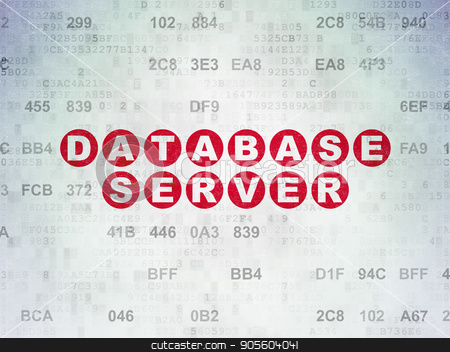 Software concept: Database Server on Digital Data Paper background stock photo, Software concept: Painted red text Database Server on Digital Data Paper background with Hexadecimal Code by mkabakov