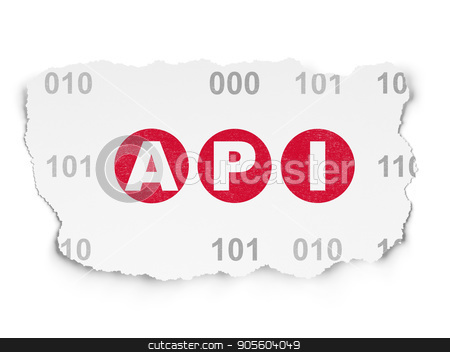 Software concept: Api on Torn Paper background stock photo, Software concept: Painted red text Api on Torn Paper background with  Binary Code by mkabakov
