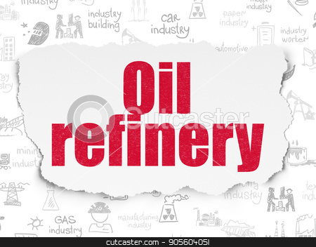 Manufacuring concept: Oil Refinery on Torn Paper background stock photo, Manufacuring concept: Painted red text Oil Refinery on Torn Paper background with  Hand Drawn Industry Icons by mkabakov