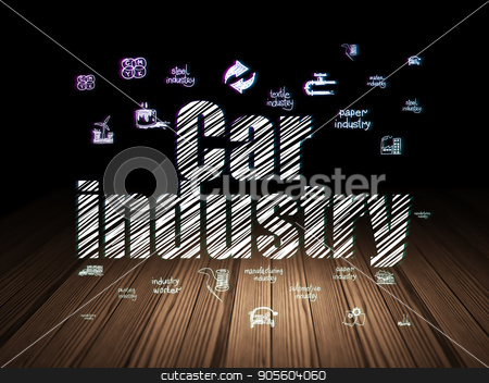 Manufacuring concept: Car Industry in grunge dark room stock photo, Manufacuring concept: Glowing text Car Industry,  Hand Drawn Industry Icons in grunge dark room with Wooden Floor, black background by mkabakov
