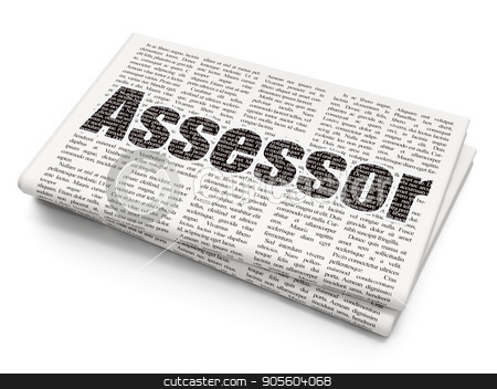 Insurance concept: Assessor on Newspaper background stock photo, Insurance concept: Pixelated black text Assessor on Newspaper background, 3D rendering by mkabakov