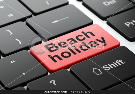 Tourism concept: Beach Holiday on computer keyboard background stock photo, Tourism concept: computer keyboard with word Beach Holiday, selected focus on enter button background, 3D rendering by mkabakov