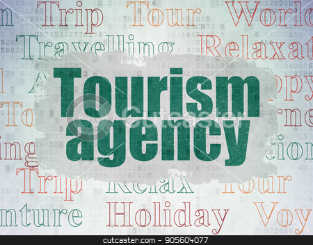 Vacation concept: Tourism Agency on Digital Data Paper background stock photo, Vacation concept: Painted green text Tourism Agency on Digital Data Paper background with   Tag Cloud by mkabakov