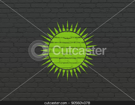 Travel concept: Sun on wall background stock photo, Travel concept: Painted green Sun icon on Black Brick wall background by mkabakov