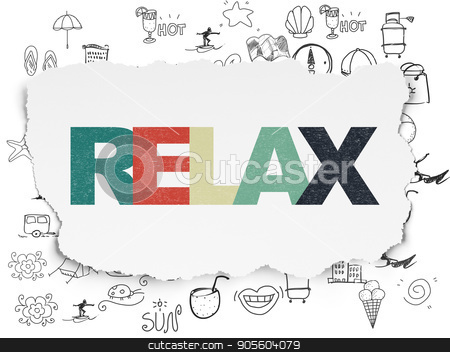 Tourism concept: Relax on Torn Paper background stock photo, Tourism concept: Painted multicolor text Relax on Torn Paper background with  Hand Drawn Vacation Icons by mkabakov