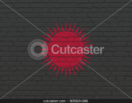 Tourism concept: Sun on wall background stock photo, Tourism concept: Painted red Sun icon on Black Brick wall background by mkabakov