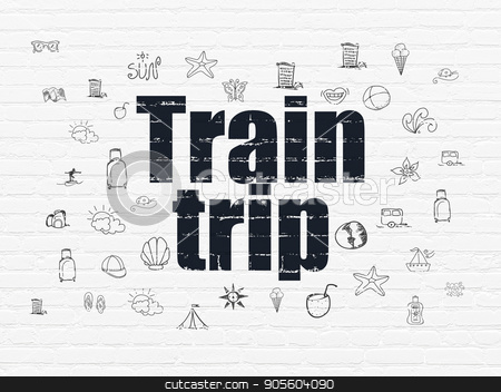 Travel concept: Train Trip on wall background stock photo, Travel concept: Painted black text Train Trip on White Brick wall background with  Hand Drawn Vacation Icons by mkabakov