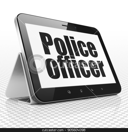 Law concept: Tablet Computer with Police Officer on display stock photo, Law concept: Tablet Computer with black text Police Officer on display, 3D rendering by mkabakov