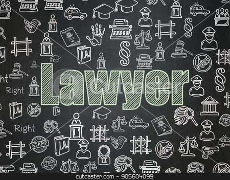 Law concept: Lawyer on School board background stock photo, Law concept: Chalk Green text Lawyer on School board background with  Hand Drawn Law Icons, School Board by mkabakov