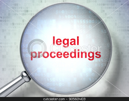 Law concept: Legal Proceedings with optical glass stock photo, Law concept: magnifying optical glass with words Legal Proceedings on digital background, 3D rendering by mkabakov