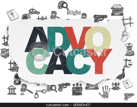 Law concept: Advocacy on Torn Paper background stock photo, Law concept: Painted multicolor text Advocacy on Torn Paper background with  Hand Drawn Law Icons by mkabakov