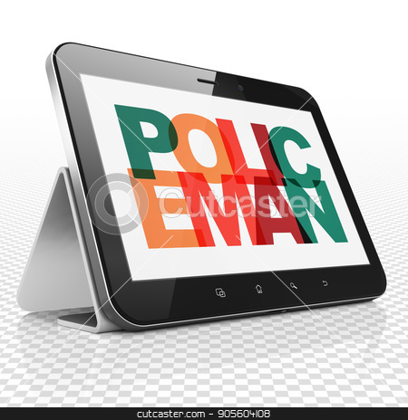 Law concept: Tablet Computer with Policeman on  display stock photo, Law concept: Tablet Computer with Painted multicolor text Policeman on display, 3D rendering by mkabakov
