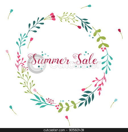Summer Sale floral wreath with hand drawn elements stock vector clipart, Sale floral wreath with hand drawn elements ant text by danceyourlife