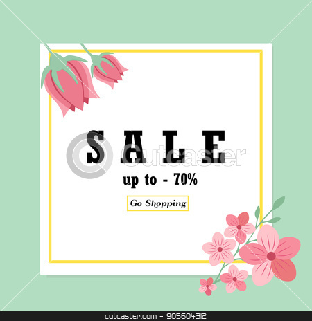Sale banner with floral ornament stock vector clipart, Sale banner with floral ornament. Can be used for voucher, wallpaper,flyers, invitation, brochure or coupon discount. by danceyourlife