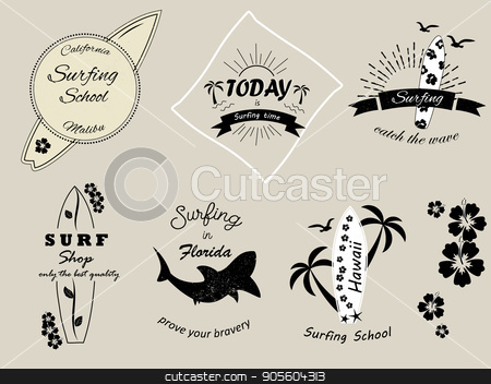 Set of surfing badges and logos stock vector clipart, Set of surfing badges and logos for summer by danceyourlife