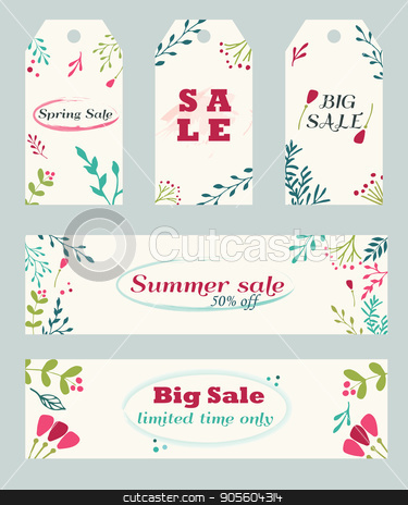Sale banners and tags with hand drawn floral ornament stock vector clipart, Sale tags and banners with hand drawn floral ornament by danceyourlife
