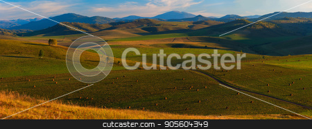 Beauty summer evening in the mountains stock photo, Beauty summer evening in the mountains in Altay, panoramic picture by olinchuk