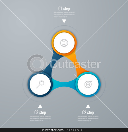 emplate for cycle diagram, graph, presentation stock vector clipart, Vector for infographic. Template for cycle diagram, graph, presentation and round chart. Business concept with 3 options, parts, steps or processes. Data visualization. by Amelisk