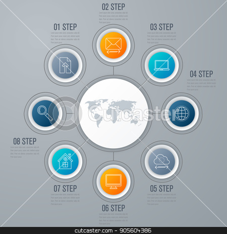 emplate for cycle diagram, graph, presentation stock vector clipart, Vector for infographic. Template for cycle diagram, graph, presentation and round chart. Business concept with 8 options, parts, steps or processes. Data visualization. by Amelisk