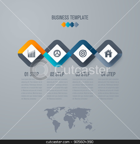 Business infographics template 4 steps with square stock vector clipart, Business infographics template 4 steps with square. Can be used for workflow layout, diagram, number options, web design, presentations by Amelisk