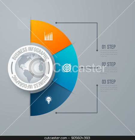 Design infographic template 3 steps stock vector clipart, Design infographic template 3 steps, can be used for workflow layout, diagram, number options, graphic or website layout. by Amelisk