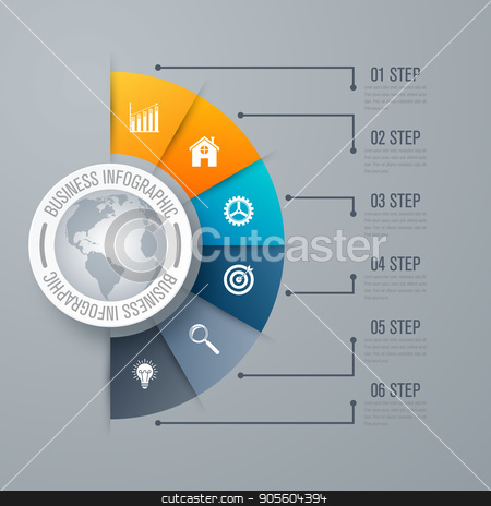 Design infographic template 6 steps stock vector clipart, Design infographic template 6 steps, can be used for workflow layout, diagram, number options, graphic or website layout. by Amelisk