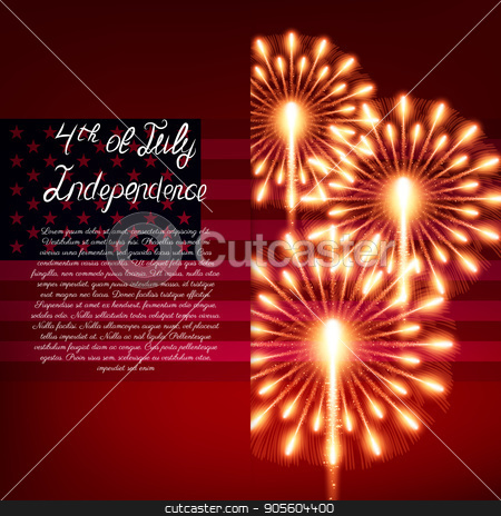 Fourth of July. Independence day greeting card stock vector clipart, Fourth of July. Independence day greeting card, poster, flyer. Patriotic banner for website template by Amelisk