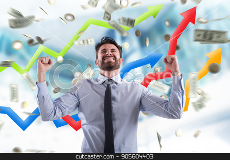 Happy businessman with growth exponential gain statistics stock photo, Happy businessman exults under a rain of coins and banknotes by Federico Caputo