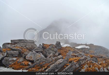 Mist Mountain Landscape in Himalaya. Rocks and wet grass. Nepal, Annapurna region. stock photo, Mist Mountain Landscape in Himalaya. Rocks and wet grass. Nepal, Annapurna region, Mardi Himal track. by verock