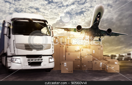 Truck and aircraft ready to start to deliver stock photo, Truck and aircraft in a deposit with packages ready to start to deliver by Federico Caputo
