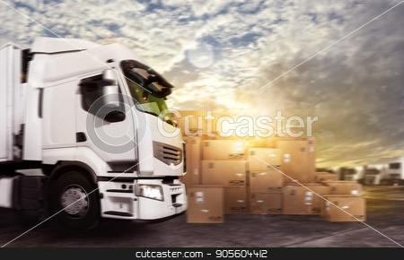 Truck in a deposit with packages ready to start stock photo, Truck in a deposit with packages ready to start to deliver by Federico Caputo