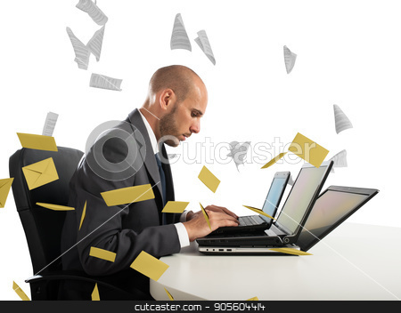 Despair and stress for spam e-mail stock photo, Desperate man in office for too many e-mail and spam by Federico Caputo