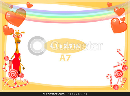 Photo frame orange. Standard size in inches stock vector clipart, Photo frame orange. Standard size in inches. A format. Horizontal orientation of the sheet. Illustration for your design. Giraffe girl on holiday birthday with a rainbow on top by Kseniia