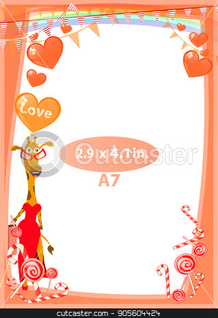 Photo The frame is red stock vector clipart, Photo The frame is red. Standard size in inches. A format. Vertical orientation of the sheet. Illustration for your design. Giraffe in a red dress among sweet. by Kseniia