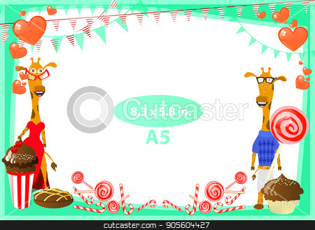 Photo The frame is green. Standard stock vector clipart, Photo The frame is green. Standard size in inches. And three format. Horizontal orientation of the sheet. Illustration for your design. Giraffes family celebration birthday. by Kseniia