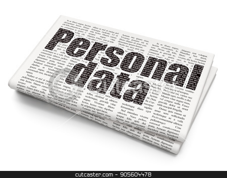 Data concept: Personal Data on Newspaper background stock photo, Data concept: Pixelated black text Personal Data on Newspaper background, 3D rendering by mkabakov